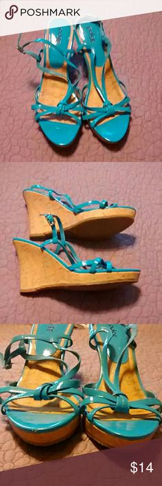 Aqua Blue Wedge Sandals Aqua Blue Wedge Sandals. Worn one time. There is a slight flaw in the front of the right sandal as shown in third picture other than that in excellent condition. 4 inch Wedge. Pulse Shoes Wedges