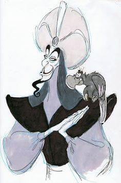 An oversized drawing of Jafar with a cut out Iago provided by animator Will Finn.