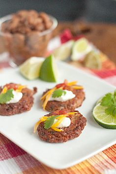 Pinto Bean Cakes with Salsa and Sour Cream. I would change a few things but it sounds good.