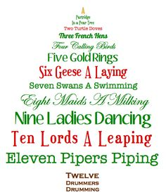 "Printable decorative ""On the first day of Christmas..."" :-)"