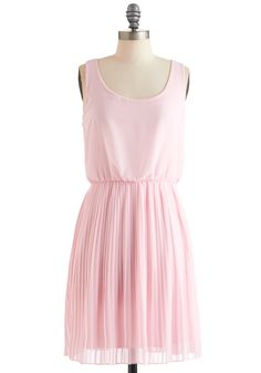 $53 Drifting in Pink Dress - Mid-length, Pink, Solid, Pleats, Party, Cutout, Sheath / Shift, Tank top (2 thick straps), Spring