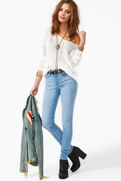 Light blue faded jeans are great!!!! Everyone needs a pair. :D