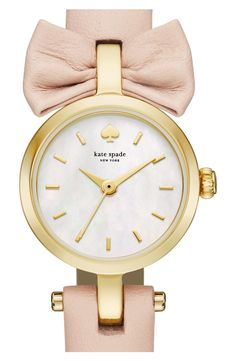 kate spade new york tiny metro - bow leather strap watch, 20mm