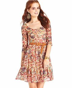 American Rag Juniors Dress, Three-Quarter-Sleeve Floral-Print Belted - Juniors American Rag - Macy's