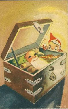 Elbjörg Christmas Cards, Christmas Postcards, Gnomes, Elves, Suitcase, Auction, Norway, Christmas E Cards, Xmas Cards