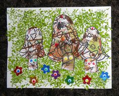 Coloriage / collage - Champignons
