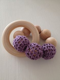 Natural Baby Toy Wooden Shaker Teething Ring