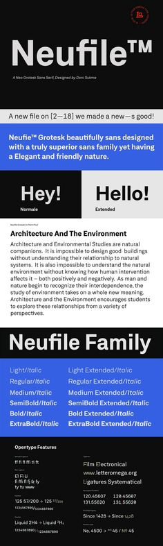 Neufile Grotesk - Neufile Grotesk font family has its roots in one of the earliest sans-serif designs commercially available, highly legible sans serif typeface very well suited for any display and text use. Neufile can be effortlessly applied to a wide range of messages and media, from advertising to book design. Its 24 fonts include Extended style and Italic satisfy the need for flexibility, creating harmonious variations of texture and emphasis.  This OpenType font family offers also…