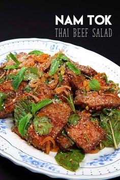 Thai Beef Salad, Nam Tok Recipe & Video – Seonkyoung Longest Hi guys! Today I'm going to share one of my favorite Thai beef salad recipe, Nam Tok! So far I had 2 different types of Thai beef salad. One is classic… Thai Steak Salad, Thai Salads, Asian Recipes, Beef Recipes, Ethnic Recipes, Cooking Recipes, Asian Foods, Cooking Ideas, Recipies