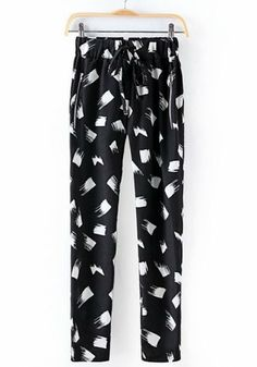 Black Print Mid Waist Long Straight Pants