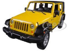 Yellow Custom 2015 Jeep Wrangler Willys Wheeler Christmas Ornament 1//64 SUV NEW