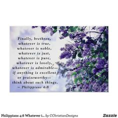 Philippians 4:8 Whatever is True Bible Verse Poster