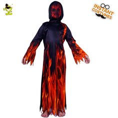 3564b2fa7df Kid s Fire Flame Devil Costume Child Halloween Party Devil Role Play Fancy  Dress Boy s Scary Costumes