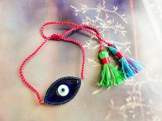 Boho tassel bracelets silver evil eye boho by Handemadeit on Etsy