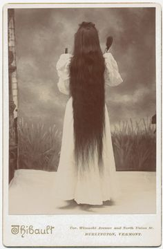 ca. 1880s, [cabinet card, portrait of a long haired woman from behind], Thibault from Burlington, VT, Tumblr