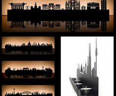 These wall mounted metal tea light holders make great gifts. Created by Cologne-based Radius, they are laser cut to show detailed landmarks and skylines of ver 20 metropolitan cities.