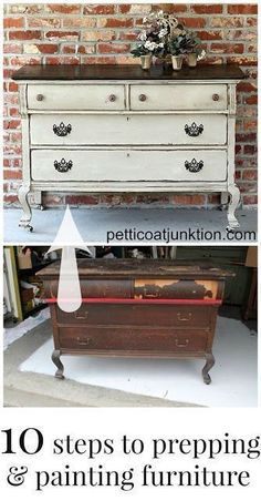 10 steps to prepping and painting furniture collage petticoat junktion #PaintedFurniture #artsandcraftsfurniture,