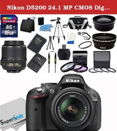 "Nikon D5200 24.1 MP CMOS Digital SLR Camera (Black) - International Version (No Warranty) with Nikon 18-55mm f/3.5-5.6G ED II AF-S DX Zoom-Nikkor Autofocus Lens + 58mm 2x Professional Lens +High Definition 58mm Wide Angle Lens + Auto Flash + 50"" lightweight Tripod + UV Filter Kit With 32GB Complete Deluxe Accessory Bundle. The Nikon D5200 Digital SLR Camera with 18-55mm Lens features a 24.1MP DX-format CMOS sensor and EXPEED 3 image processor to produce high quality imagery while…"