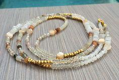 Boho Long Beaded Necklace  Semi Precious Gemstone Beaded