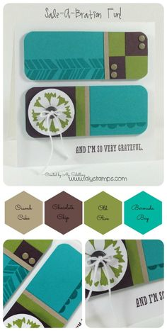 handmade card ... mod look with geometric units ... luv  this color combo ... Stampin' Up!