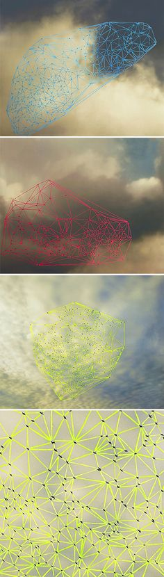 catherine ulitsky - Starlings in flight, creating massive geometric objects. Just imagine what it would be in 3D, an ever changing lattice of life moving through time.
