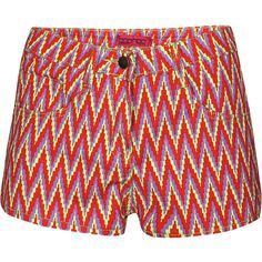 Lily Zig Zag Multicolour Print Denim Hotpants ($36) ❤ liked on Polyvore