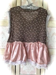Rustic Prairie Floral Crop Top Mauve Flounce and Vintage Lace Details Semi sheer , Brown Floral Fabric with vinty white lace stitched to the cuffs. Cloth covered ,tea stain colored ,Buttons in front. on top of brown lace. Light weight Rustic ,Mauve colored skirting edged with VINTAGE white