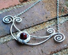 Silver. Aluminum. Deep. Red. Bib. by Karismabykarajewelry on Etsy