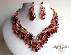 Red Bridal Statement Necklace Set, Vintage Style Wedding Jewelry Set, Bridesmaids Necklace, Red Bridal Earrings