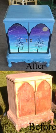 Unique Re-Creations by Amy Konecny... Hand-painted furniture,  Bohemian Star Cabinet