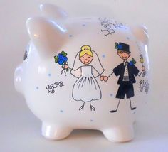 Honeymoon Fund Bride and Groom Piggy Bank by LittleWhiteDogStudio