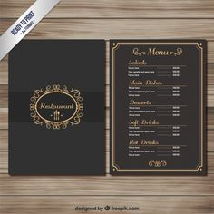 Elegant restaurant menu Free Vector Modern Restaurant Design, Cafe Menu Design, Menu Card Design, Dessert Restaurants, Upscale Restaurants, Restaurant Menu Template, Menu Restaurant, Menu Book, Catering Menu