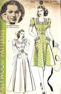 1940s Misses Day or Evening Dress Vintage by MissBettysAttic, $45.00