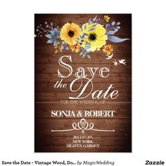 Save the Date - Vintage Wood, Doves, Yellow Flower Card