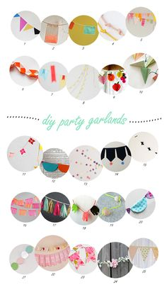 25 party garlands -- definitely thinking that I need some sort of garland above the tv in the living room. Maybe everyday will be a party.