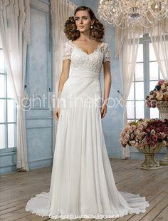 Sheath/Column Off-the-shoulder Court Train Chiffon and Lace Wedding Dress (551563)