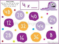 Monster Multiplication Bump Game for 4x