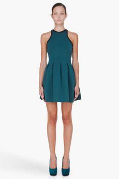T By Alexander Wang Green Pleated Neoprene Dress for Women | SSENSE