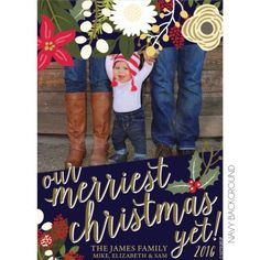 Our Merriest Christmas Yet Holiday Floral Photo Card designed by KateOGroup!  #HolidayPhotoCard #HolidayCard #ChristmasCard #HolidayFloral #FloralHolidayCard #KateOGroup
