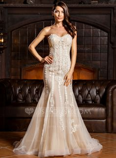 Trumpet/Mermaid Sweetheart Sweep Train Appliques Lace Zipper Up Strapless Sleeveless Beach General Plus No Winter Spring Summer Fall Ivory Tulle Wedding Dress