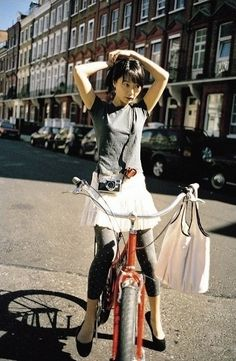 DOONA BAE with bicycle. Cute pose