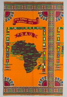 Africa | Commemorative cloth from Uganda | ca. before 1970 | cotton; plain woven, printed.