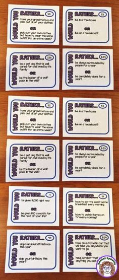 Try these super-fun Would You Rather Questions with your students. Great for class discussions, polls, and writing prompts. Click through to get 204 Would You Rather Question Cards.