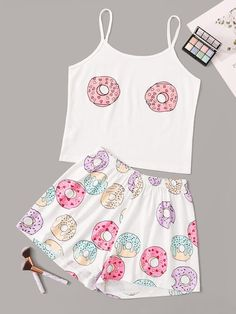 Shop Doughnut Print Cami Pajama Set at ROMWE, discover more fashion styles online. Girls Fashion Clothes, Teen Fashion Outfits, Outfits For Teens, Fashion Goth, Formal Outfits, Rock Outfits, Emo Outfits, Fashion Dresses, Cute Pajama Sets