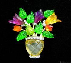 Купить Брошь Букет тюльпанов,Joseph J. Cleary,США,люцит,Jelly Belly,цветы в интернет магазине на Ярмарке Мастеров