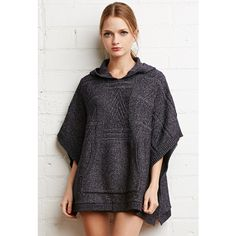 Forever 21 Hooded Poncho Sweater (€31) ❤ liked on Polyvore featuring tops, sweaters, full length sweater, hooded poncho, hooded sweater, black hooded sweater and poncho sweater