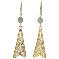 NOVICA Gold vermeil labradorite filigree earrings ($40) ❤ liked on Polyvore featuring jewelry, earrings, filigree, gold plated, gold vermeil jewelry, earring jewelry, filigree jewelry, vermeil earrings and novica