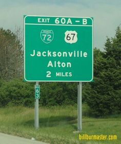 A BGS on WB I-72/US Route 36 at Jacksonville, Illinois