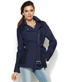 Kenneth Cole Asymmetrical-Zip Belted Jacket