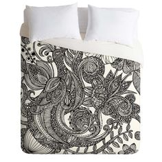 Valentina Ramos Bird in Flowers Black White Duvet Cover Collection